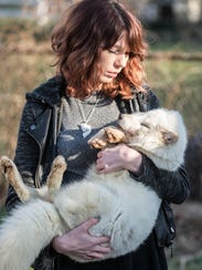 Kristina Shafer with her arctic fox, Archer.