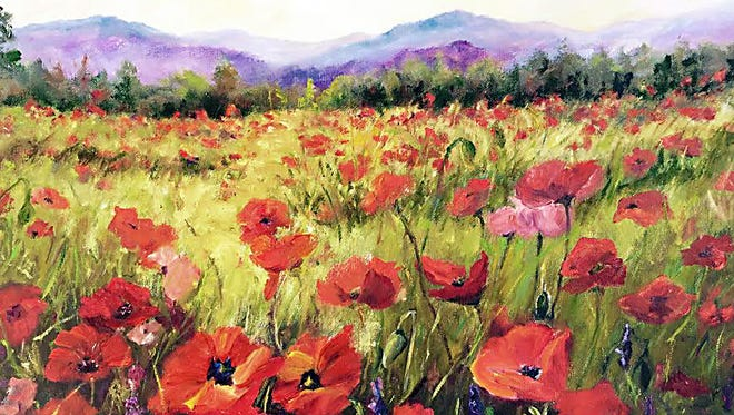 """Field of Poppies"" by Joyce Schlapkohl will be featured in the Asheville Gallery of Art July exhibit."