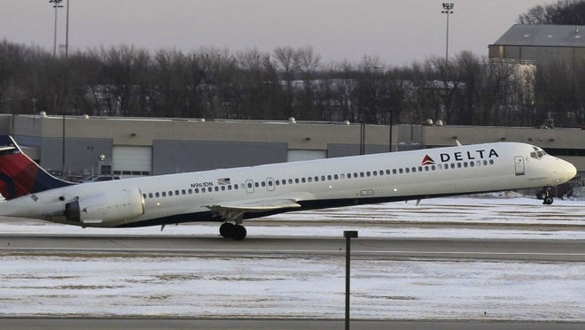 A Delta Air Lines flight takes off from Mitchell International Airport in Milwaukee. Delta began nonstop service between Milwaukee and Salt Lake City on Thursday.
