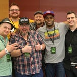 'Geekshow' panelists, from left, Jay Whittaker, Shannon Barnson, Jimmy Martin, Kerry Jackson, Punk and Jeff Vice, prepare to record at FanX in 2014.