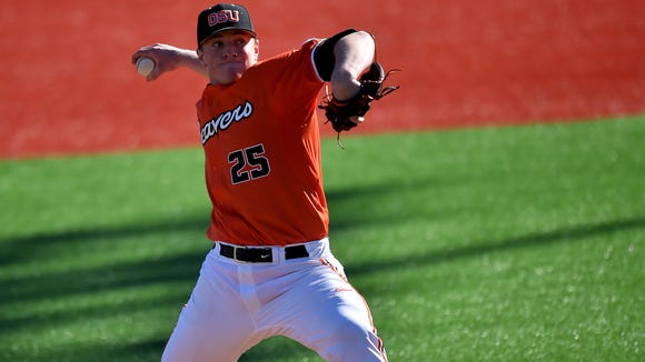 Oregon State pitcher Drew Rasmussen struck out a career-high 12 batters last week against San Francisco.