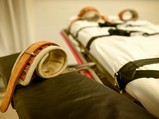 The arm and feet straps used on the gurney when used for lethal injections inside the execution chamber as it is seen, Thursday, March 2, 2017, at the Riverbend Maximum Security Institution in Nashville, Tenn.
