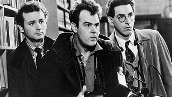 Bill Murray, left, Dan Aykroyd and Harold Ramis appear in a scene from the 1984 movie 'Ghostbusters.'