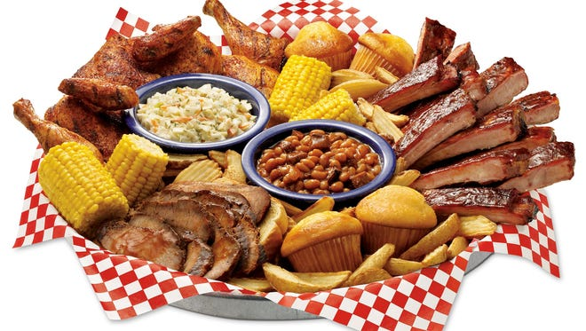 At Famous Dave's, you'll find a variety of barbecue favorites on the menu like St. Louis-style spareribs, chicken, Texas beef brisket, Georgia chopped pork, coleslaw, fries, beans, corn and cornbread muffins.