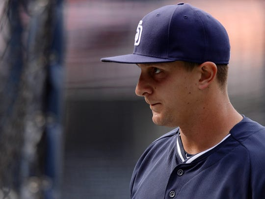 Padres left fielder Alex Dickerson (1) looks on before the game against the New York Mets at Petco Park, May 5.