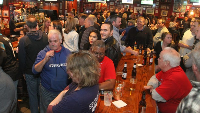 The crowd on the final night at Bob Hyland's Sports Page on Hamilton Avenue in White Plains on Friday.