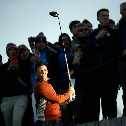 Rory McIlroy of Northern Ireland speaks at a press conference two days ahead of the DP World Tour Championship golf tournament in Dubai, United Arab Emirates, Tuesday, Nov.13, 2018. McIlroy said on Tuesday that he intends to play only two full-field European Tour events in the first half of 2019 because of changes in the tournament schedule. (AP Photo/Kamran Jebreili)