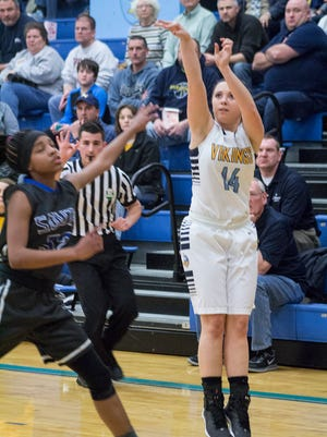River Valley junior point guard Morgan Lott shoots a 3-pointer against Columbus South in a girls basketball tournament game this season. Lott was named Fahey Bank Athlete of the Month for February.