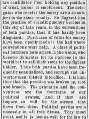 An front-page article from the Feb. 11, 1874, edition