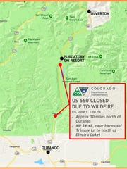 This map shows where Highway 550 was closed by today's