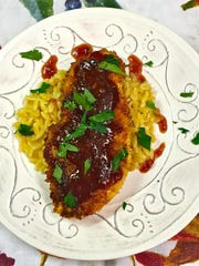A sweet/tart sauce made with loquats and cranberries is wonderful paired with chicken and orzo.