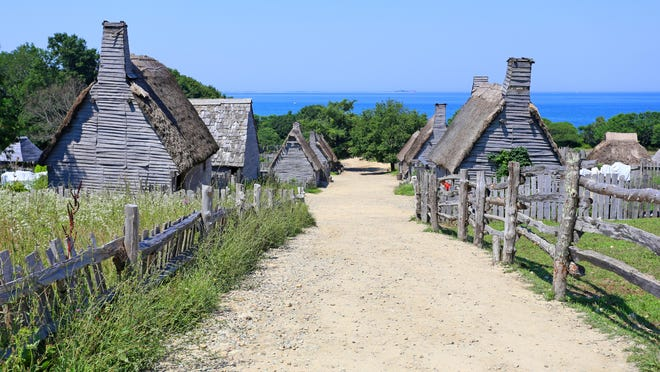 The first Plymouth plantation settled by the Pilgrims in 1620 is seen here in a recreation at Plymouth.
