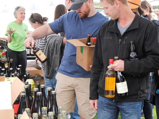 The cider retail sales tent was in full swing during