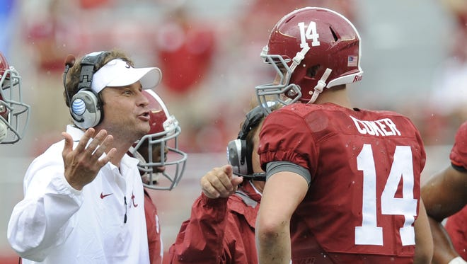 MICKEY WELSH/ADVERTISER Alabama offensive coordinator Lane Kiffin talks with quarterback Jake Coker. Alabama offensive coordinator Lane Kiffin talks with quarterback Jake Coker (14)  Florida Atlantic at Bryant Denny Stadium in Tuscaloosa, Ala. on Saturday September 6, 2014.