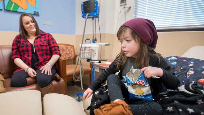 Heather Howell looks over at her 4-year-old daughter Charley who is undergoing treatment at The Studer Family Children's Hospital at Sacred Heart in Pensacola on Tuesday, Dec. 12, 2017. Charley was recently reunited with her cat, Angel, who was missing for the past three months.