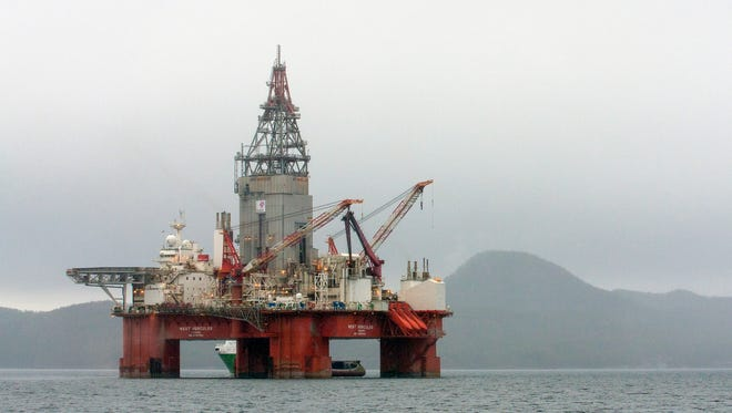 This April 26, 2013, file photo shows the West Hercules drilling rig in the Skaanevik fjord in western Norway.