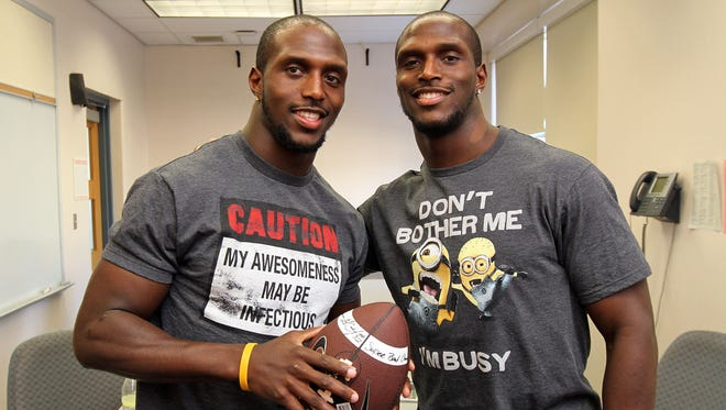 The McCourty brothers, Devin, left, and Jason, right, are bringing two Tackle Sickle Cell charity events back to their Rutgers roots Saturday.
