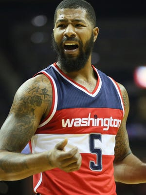 Washington Wizards forward Markieff Morris (5) reacts to a call in the first quarter of the game against the Memphis Grizzlies at FedExForum.