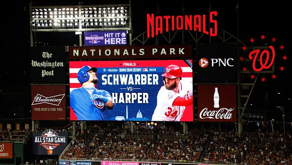 The scoreboard displays the final matchup between Kyle Schwarber of the Chicago Cubs and Bryce Harper of the Washington Nationals during the T-Mobile Home Run Derby at Nationals Park on July 16, 2018 in Washington, DC.