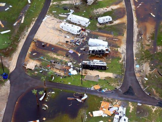Hurricane Harvey damage in Corpus Christi.