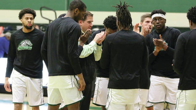 Columbia State men's basketball coach Winston Neal rallies the Chargers prior to the team's TCCAA/Region VII championship victory over Jackson State, securing the program's first NJCAA national tournament appearance in five years.