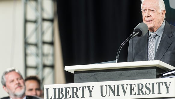 Former president Jimmy Carter speaks at the 45th Liberty
