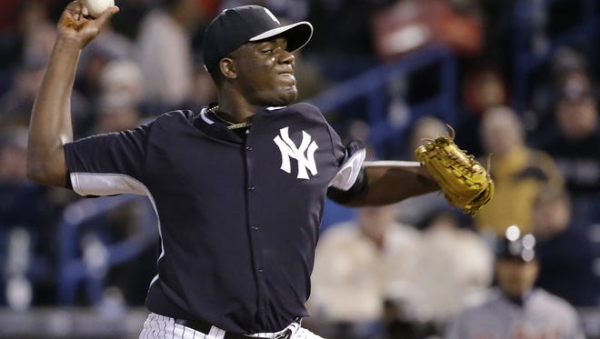 Yankees starting pitcher Michael Pineda delivers in the fifth inning of a spring-training game against the Detroit Tigers in Tampa, Fla., on March 7, 2014.