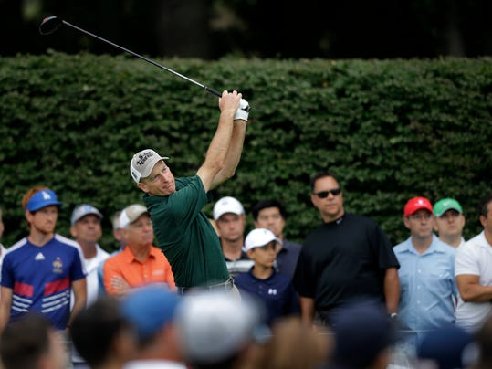 Jim Furyk hits a tee shot on the 17th hole during the second round of play at The Barclays golf tournament Friday, Aug. 22, 2014, in Paramus, N.J.  (AP Photo/Mel Evans)