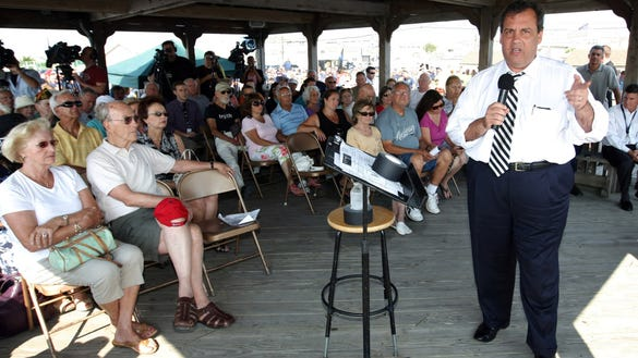 Gov. Chris Christie at the Bay View Park gazebo on July 22, 2014. (Governor's Office/Tim Larsen)