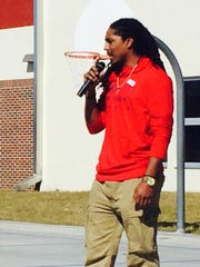 North Fort Myers grad and Carolina Panthers safety Tre Boston visited Caloosa Elementary on Friday to speak to children in third, fourth and fifth grades.