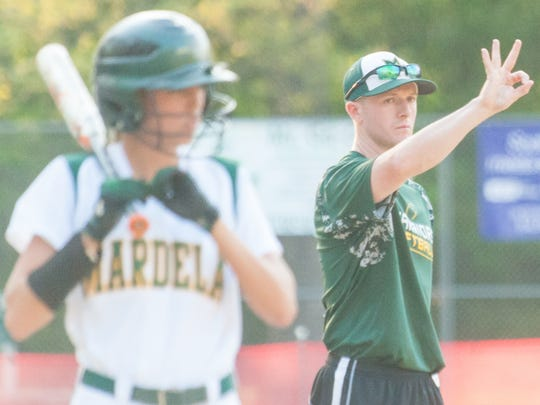 Mardela head coach Korey Shiles calls plays from third against North Caroline on Tuesday evening at Henry S Parker Athletic Complex in the Bayside Softball Championship in 2015.