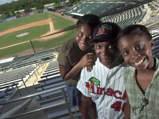 Riccardo Ingram, shown here as the Fort Myers Miracle manager in 2005 with his daughters Kacey, then 11, and Kristen, then 9, is at home fighting the return of brain cancer.