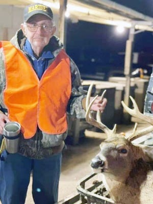Among successful deer hunters during the November firearms portion was WWII Marine Veteran Robert McGrath, 97, who took a nine-point buck on private land. He is from the Millersburg area and lives in Columbia with his son. Photo courtesy of the McGrath family.