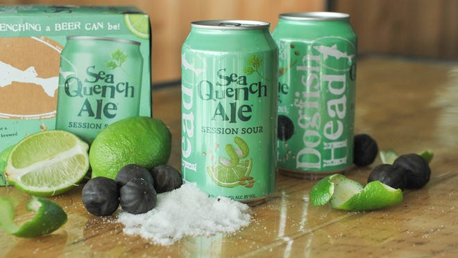 Cans, packaging and some ingredients for SeaQuench Ale, a thirst-quenching beer from Dogfish Head Craft Brewery.