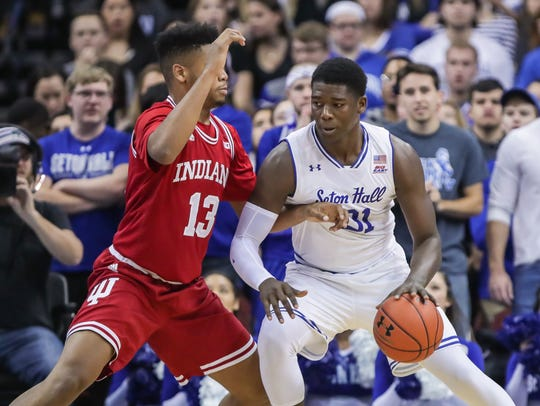 Seton Hall center Angel Delgado handles against Indiana