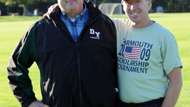 D-Y boys' cross country coach Tom Lonergan, left, in 2009 with girls' coach Jim Hoar. Lonergan's compassion for others was unmatched, said Jeff Howell.