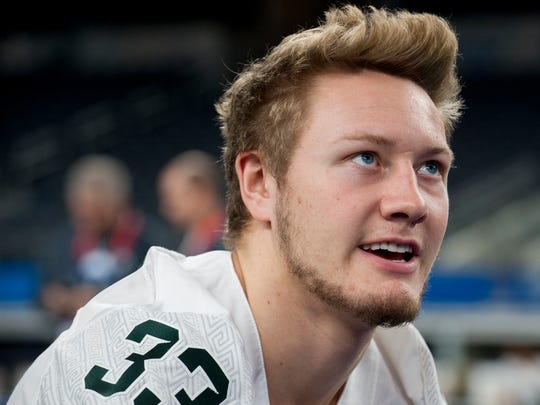 Michigan State linebacker Jon Reschke during media day for the Cotton Bowl on Dec. 29, 2015 in Arlington, Texas.
