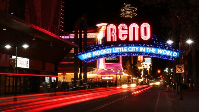 The recently updated Reno Arch is seen on the evening of April 4, 2018.