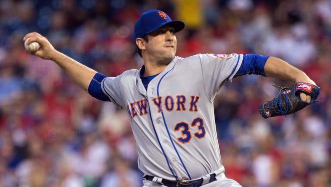 New York Mets starting pitcher Matt Harvey pitches against the Philadelphia Phillies.