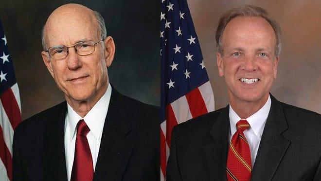 U.S. Sens. Pat Roberts, left, and Jerry Moran, R-Kan.