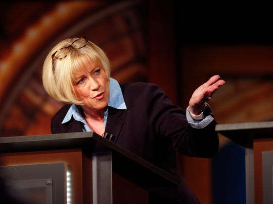 Cathy Glasson takes part in the Iowa Democratic Gubernatorial Primary Debate at IPTV Wednesday, May 16, 2018.