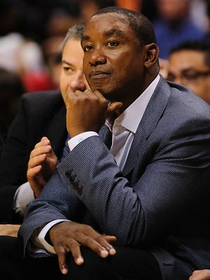 Isiah Thomas watches as the Toronto Raptors host the Sacramento Kings at Rogers Arena.