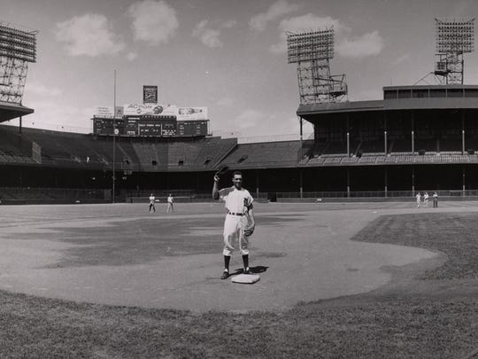 Ozzie Virgil poses at third base the day before his Briggs Stadium debut on June 17, 1958 when he batted 5 for 5.