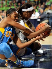 Notre Dame guard Jewell Loyd, right, and UCLA guard Lauren Holiday battle for a loose ball during the first half of an NCAA college basketball game, Saturday, Dec. 7, 2013, in South Bend, Ind. (AP Photo/Joe Raymond)