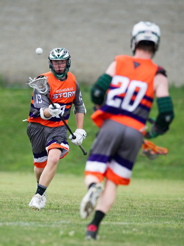 Eville Storm U19's Eli J. attempts to cradle the ball