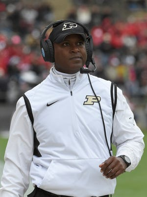 Purdue Boilermakers head coach Darrell Hazell on the sidelines during the second half against the Nebraska Cornhuskers at Ross Ade Stadium.