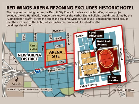 Red Wings arena zoning excludes historic hotel