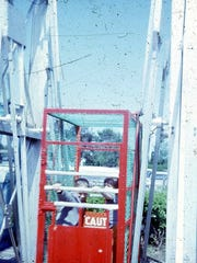 An undated photo shows Rochester nostalgia cages at Willow Point Park.