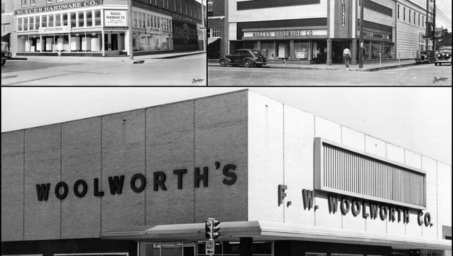 Edwin F. Flato's Nueces Hardware store in 1935 (top left) and after it was given a new façade in 1938 (top right). A new building constructed on the site housed F.W. Woolworth's downtown store from 1954 to 1989. The building is empty today.