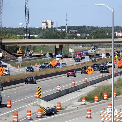 Traffic moves along Interstate 41 in Fox Crossing amid